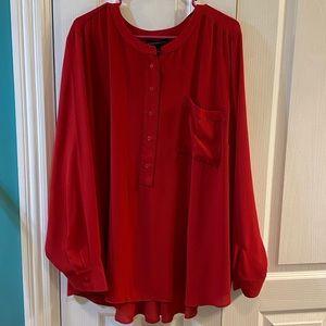 Red Lane Bryant long sleeve blouse